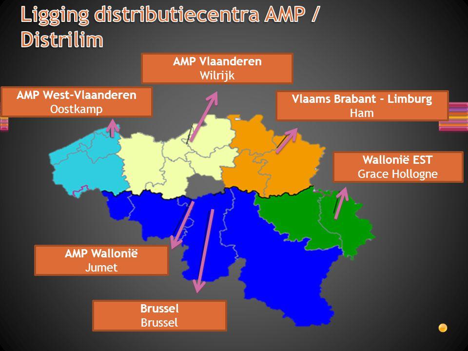 Ligging distributiecentra AMP / Distrilim