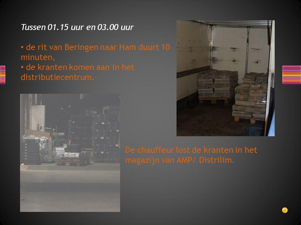 Tussen 01.15 uur en 03.00 uur de rit van Beringen naar Ham duurt 10 minuten, de kranten komen aan in het distributiecentrum.
