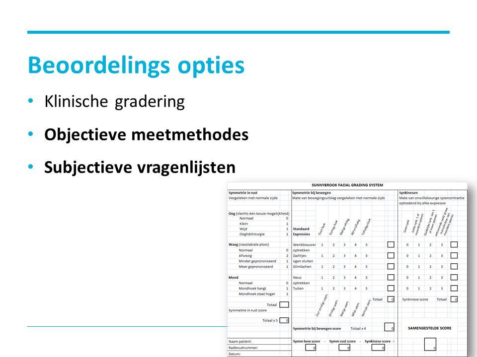 Beoordelings opties Klinische gradering Objectieve meetmethodes