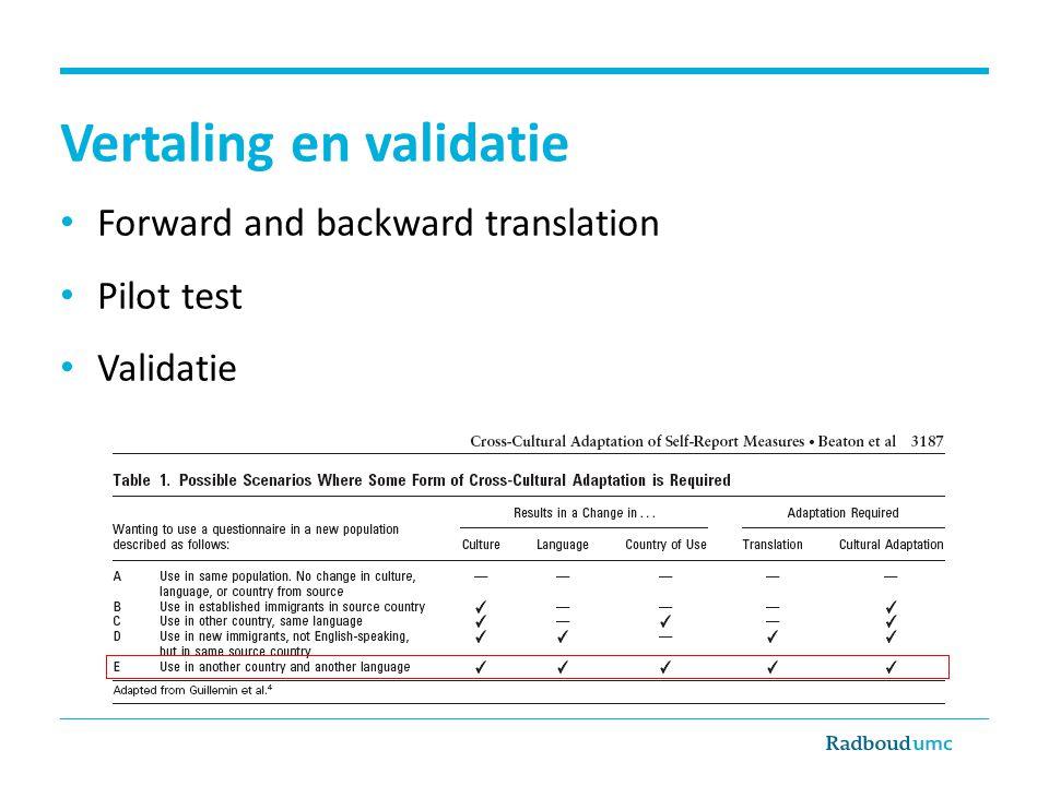 Vertaling en validatie