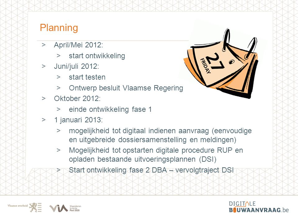 Planning April/Mei 2012: start ontwikkeling Juni/juli 2012: