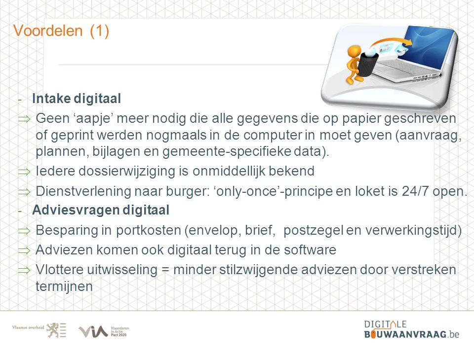 Voordelen (1) Intake digitaal.
