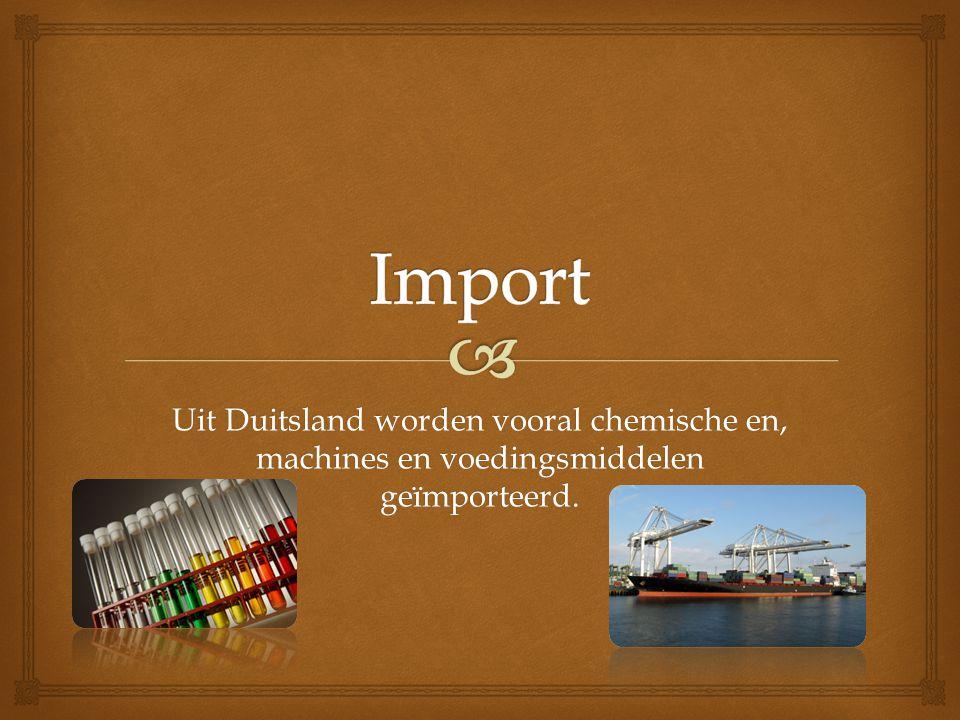 Import Uit Duitsland worden vooral chemische en, machines en voedingsmiddelen geïmporteerd.