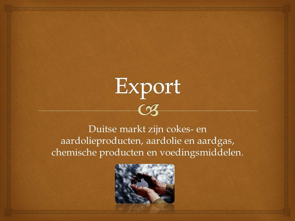 Export Duitse markt zijn cokes- en aardolieproducten, aardolie en aardgas, chemische producten en voedingsmiddelen.