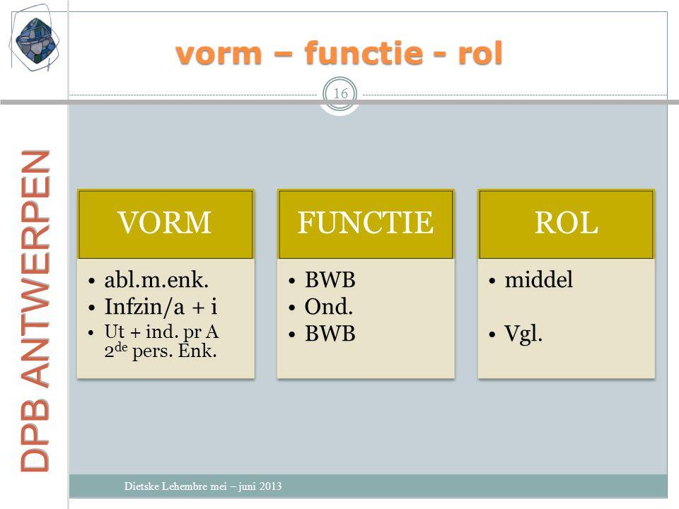 VORM FUNCTIE ROL vorm – functie - rol abl.m.enk. Infzin/a + i BWB Ond.