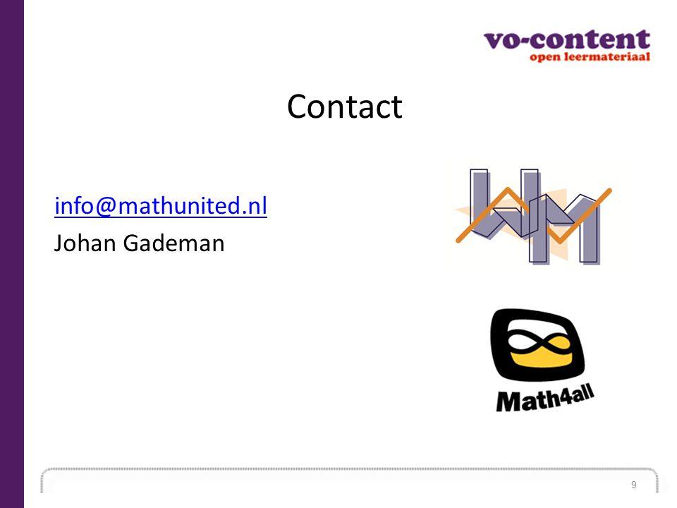 Contact info@mathunited.nl Johan Gademan