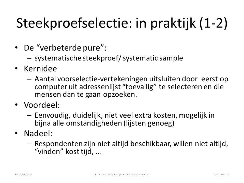 Steekproefselectie: in praktijk (1-2)