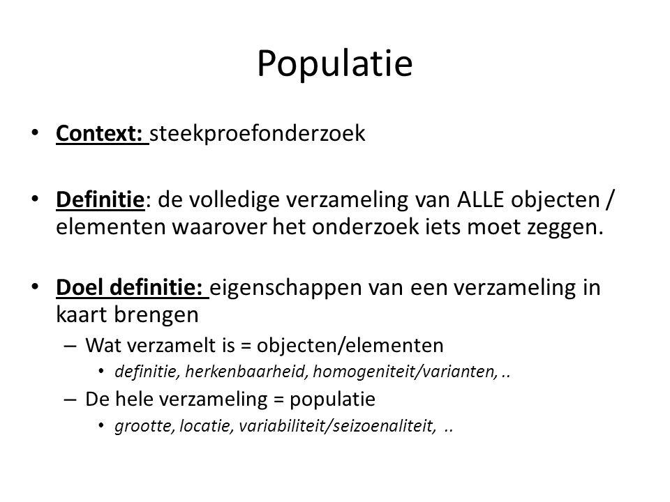 Populatie Context: steekproefonderzoek