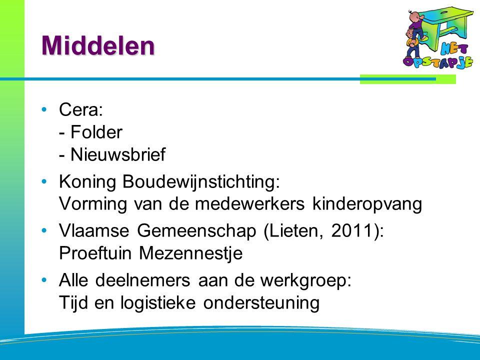 Middelen Cera: - Folder - Nieuwsbrief