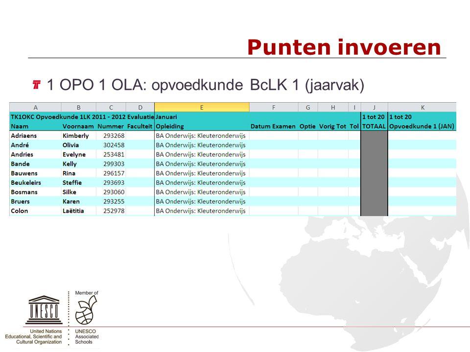 Punten invoeren 1 OPO 1 OLA: opvoedkunde BcLK 1 (jaarvak)