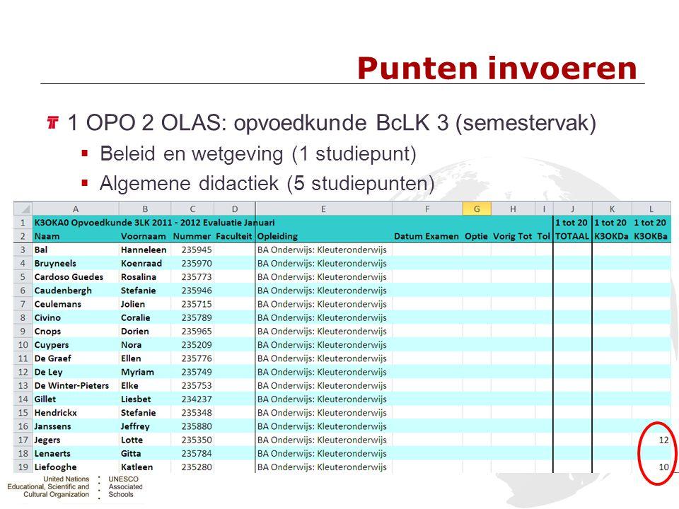 Punten invoeren 1 OPO 2 OLAS: opvoedkunde BcLK 3 (semestervak)