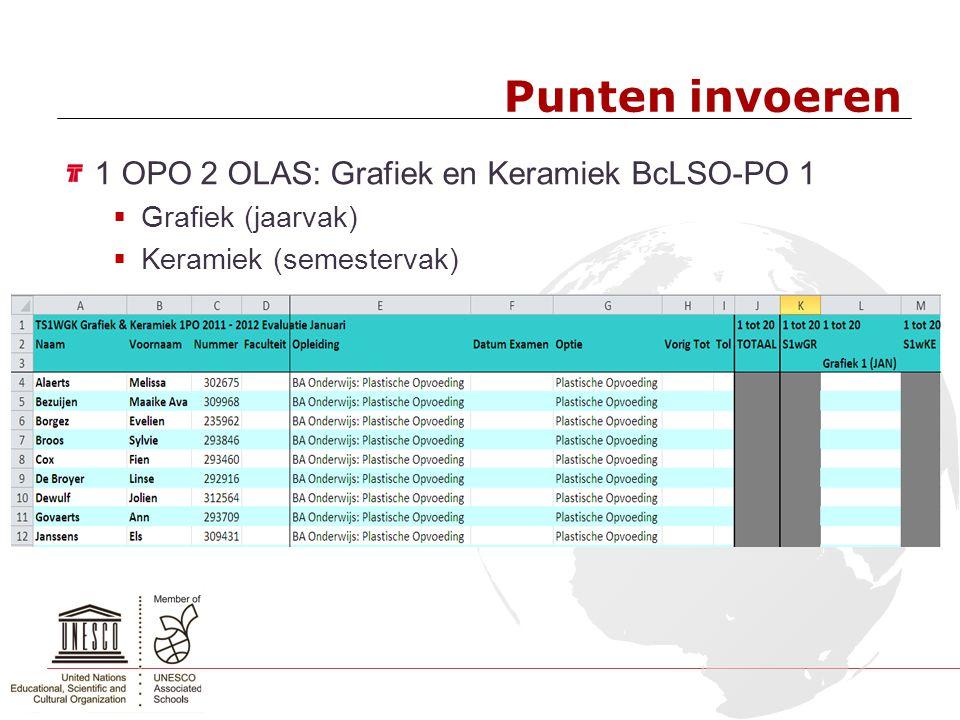 Punten invoeren 1 OPO 2 OLAS: Grafiek en Keramiek BcLSO-PO 1