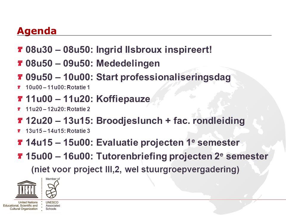 08u30 – 08u50: Ingrid Ilsbroux inspireert! 08u50 – 09u50: Mededelingen