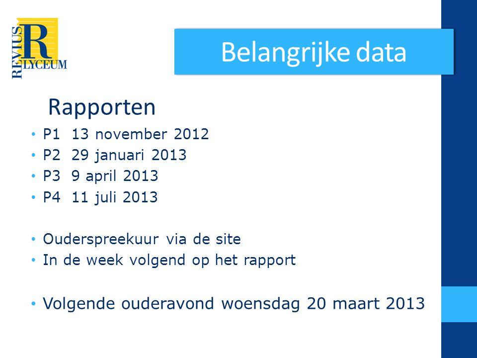 Belangrijke data Rapporten Volgende ouderavond woensdag 20 maart 2013