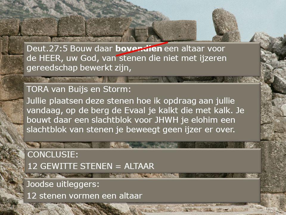 Deut.27:5 Bouw daar bovendien een altaar voor de HEER, uw God, van stenen die niet met ijzeren gereedschap bewerkt zijn,