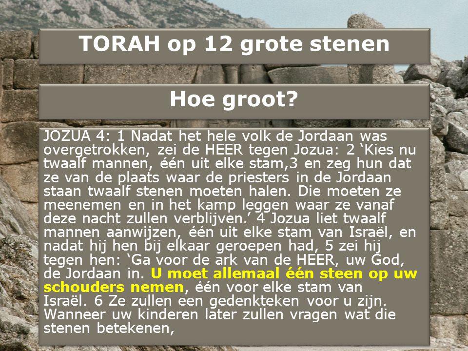 TORAH op 12 grote stenen Hoe groot