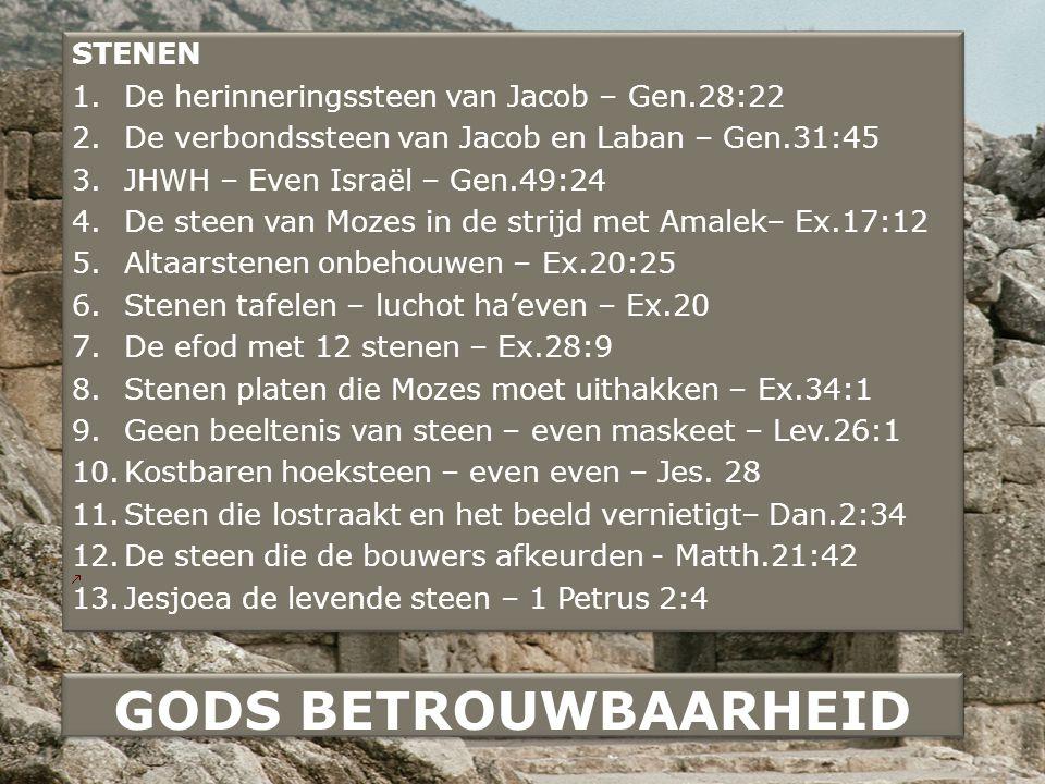 GODS BETROUWBAARHEID STENEN De herinneringssteen van Jacob – Gen.28:22