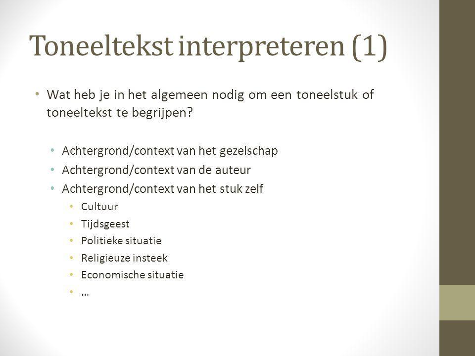 Toneeltekst interpreteren (1)