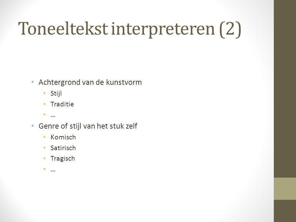 Toneeltekst interpreteren (2)