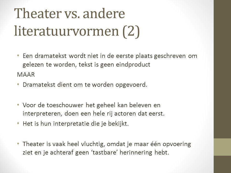 Theater vs. andere literatuurvormen (2)
