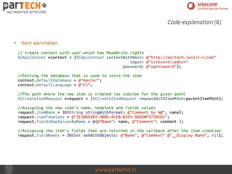 Code explanation (6) Item aanmaken