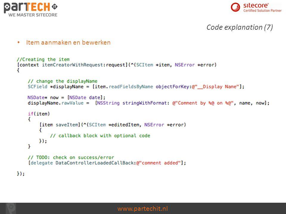Code explanation (7) Item aanmaken en bewerken