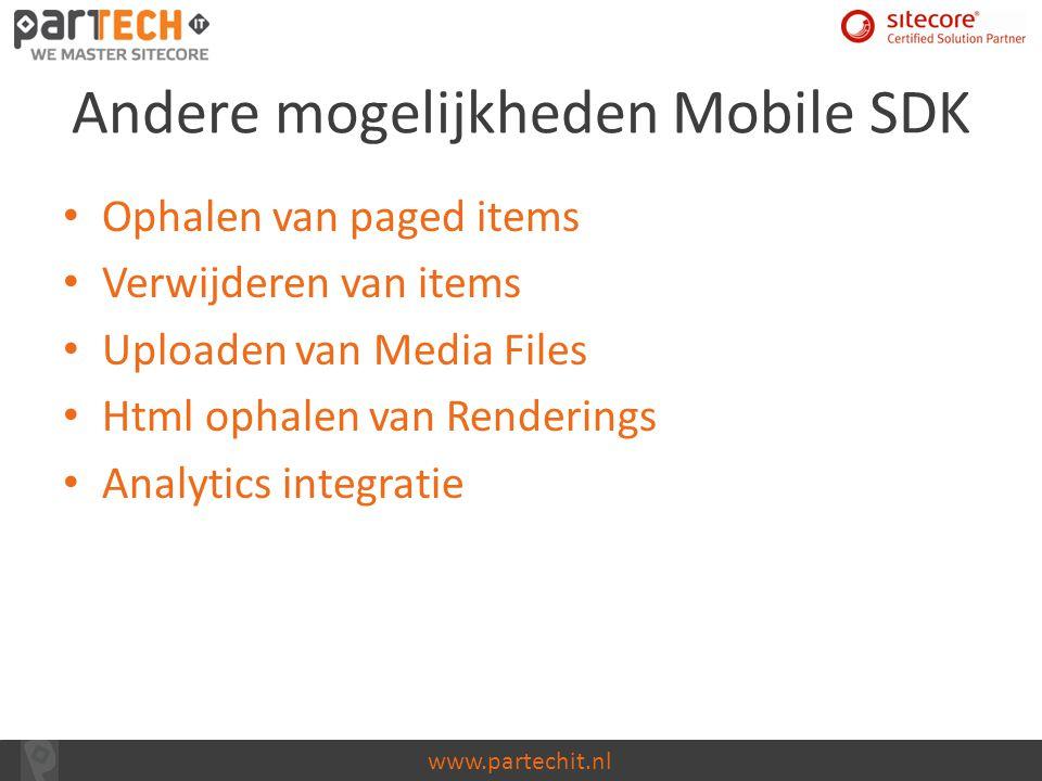 Andere mogelijkheden Mobile SDK