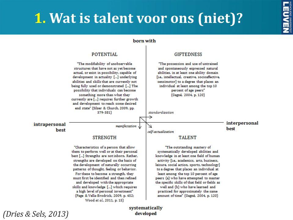 1. Wat is talent voor ons (niet)