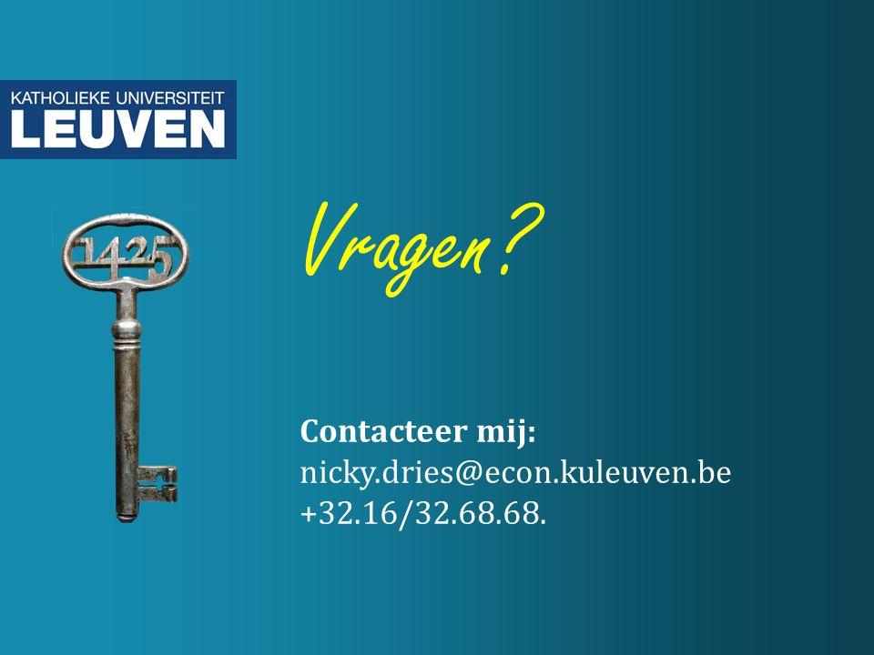 Vragen Contacteer mij: nicky.dries@econ.kuleuven.be +32.16/32.68.68.