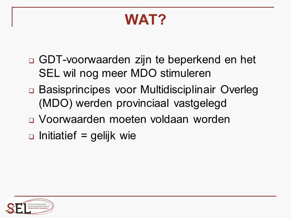 WAT GDT-voorwaarden zijn te beperkend en het SEL wil nog meer MDO stimuleren.