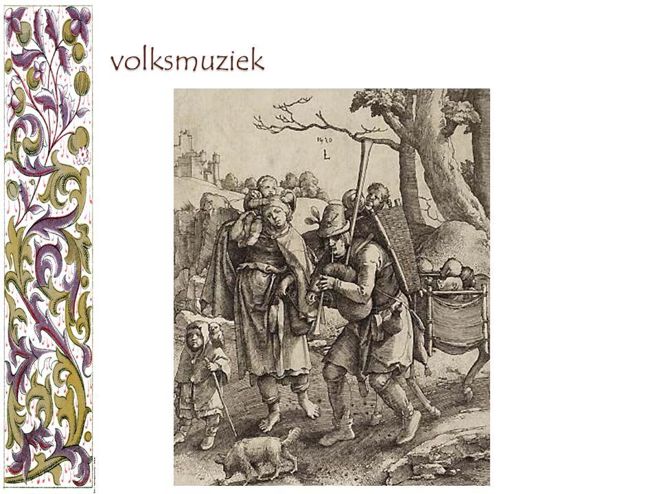 volksmuziek Dit is een gravure van Lucas Van Leyden uit 1520, getiteld 'De reizende gokelaer'.