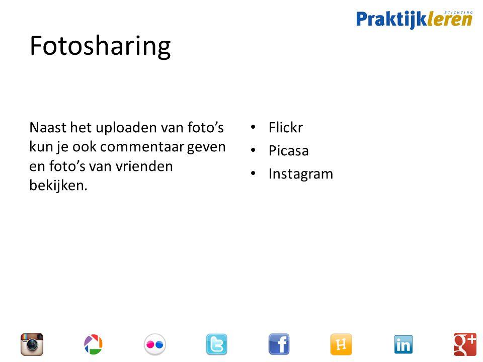 Fotosharing Naast het uploaden van foto's kun je ook commentaar geven en foto's van vrienden bekijken.