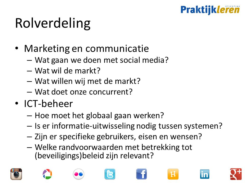 Rolverdeling Marketing en communicatie ICT-beheer