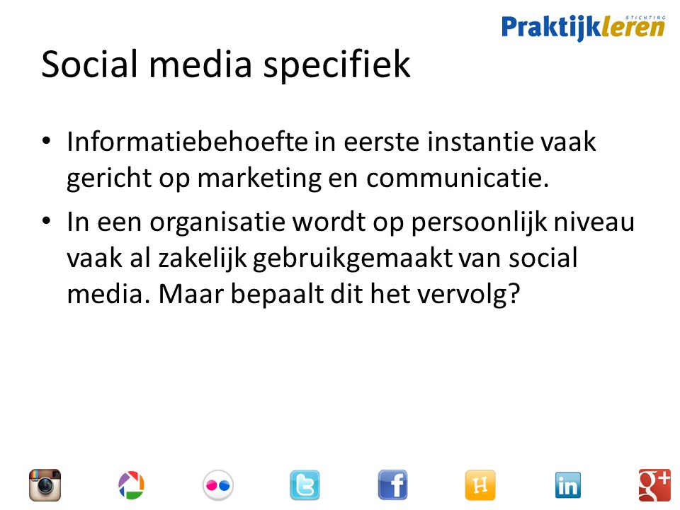 Social media specifiek