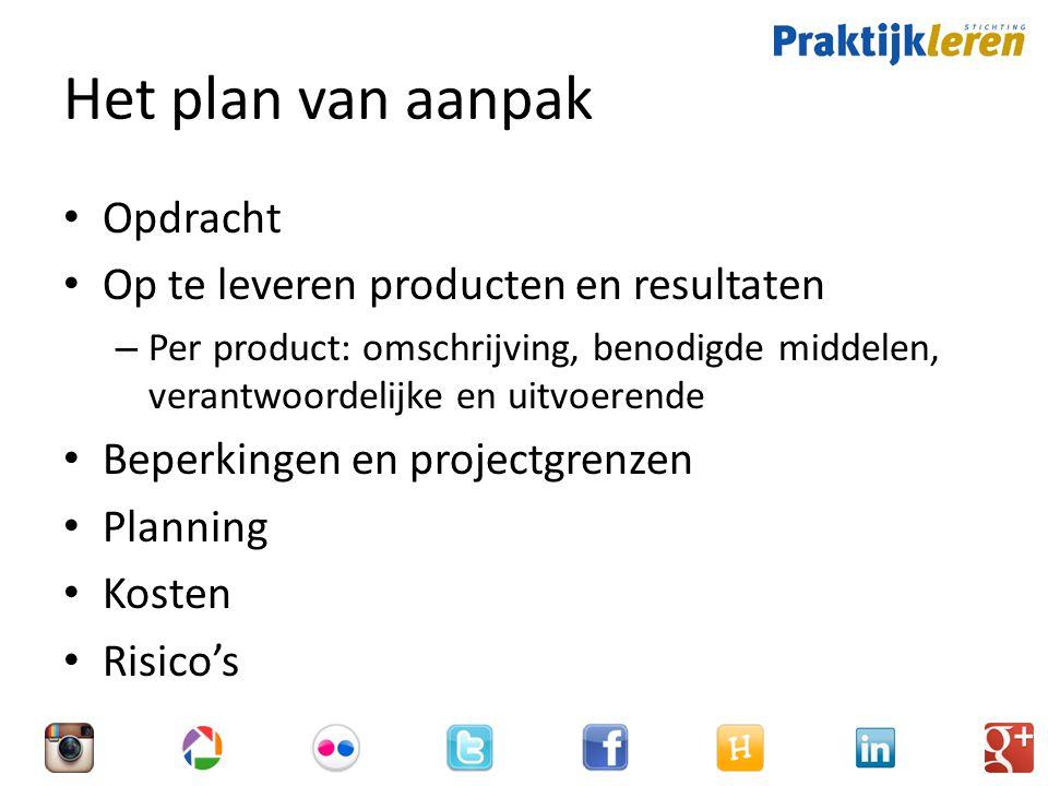 Het plan van aanpak Opdracht Op te leveren producten en resultaten
