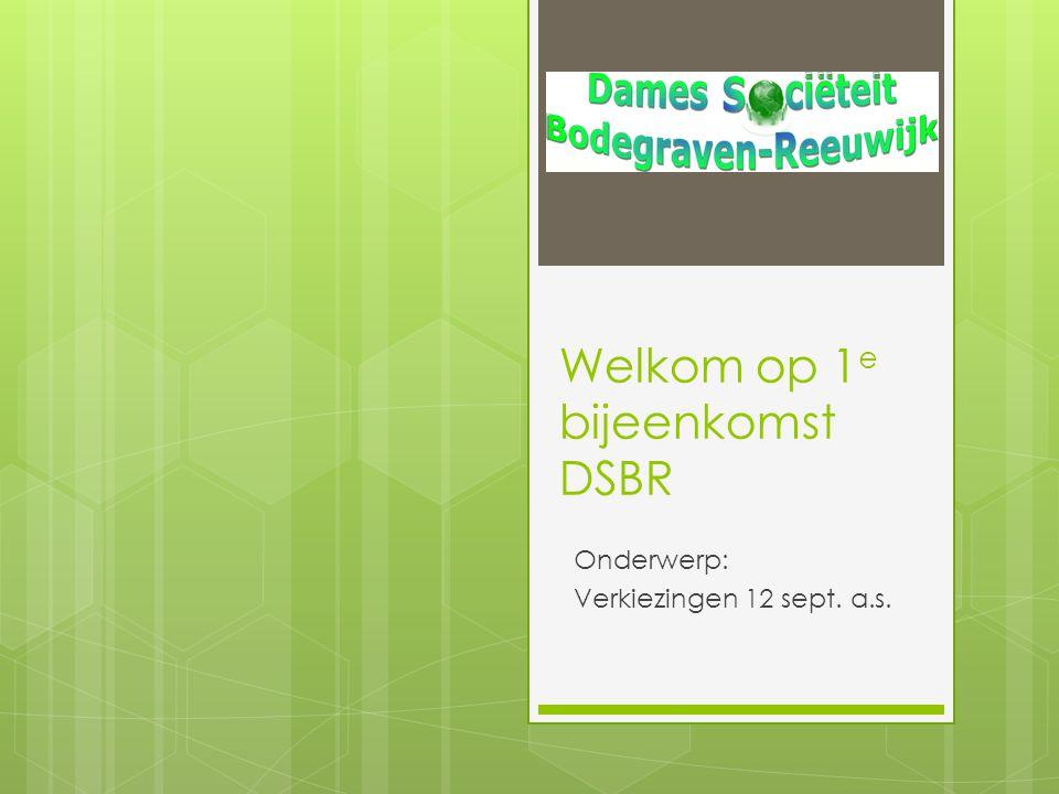 Welkom op 1e bijeenkomst DSBR