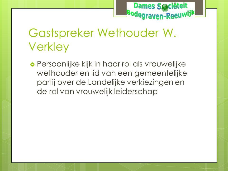 Gastspreker Wethouder W. Verkley