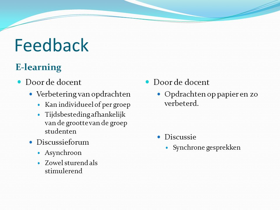 Feedback E-learning Door de docent Door de docent