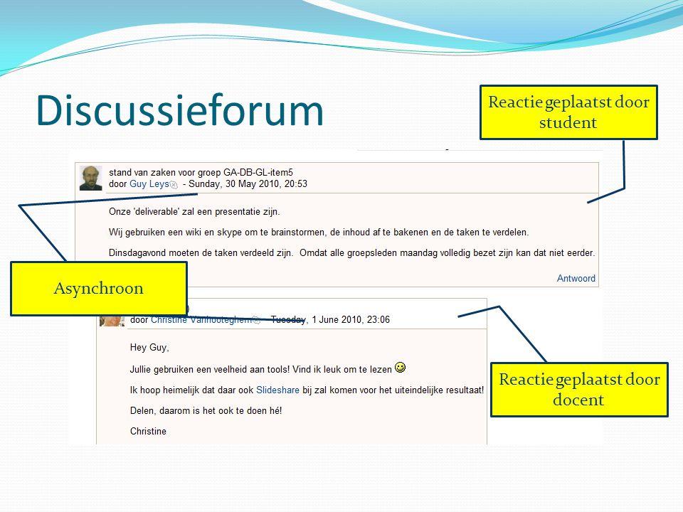 Discussieforum Reactie geplaatst door student Asynchroon