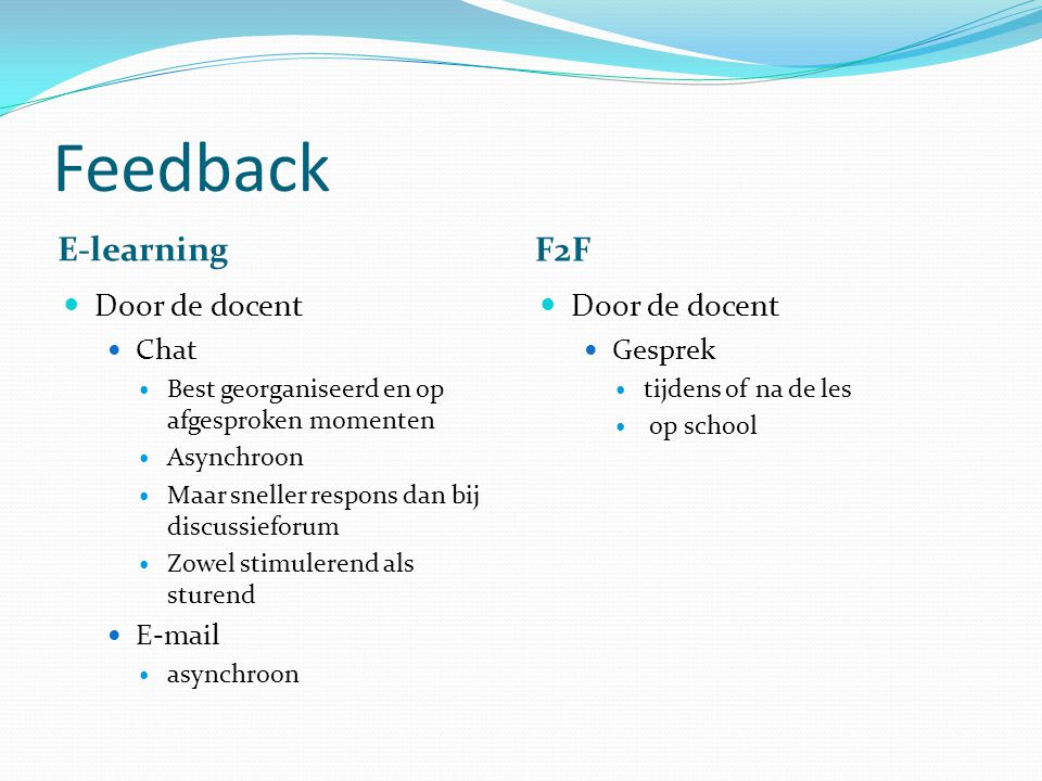 Feedback E-learning F2F Door de docent Door de docent Chat