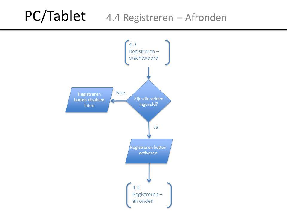 PC/Tablet 4.4 Registreren – Afronden 4.3 Registreren – wachtwoord Nee