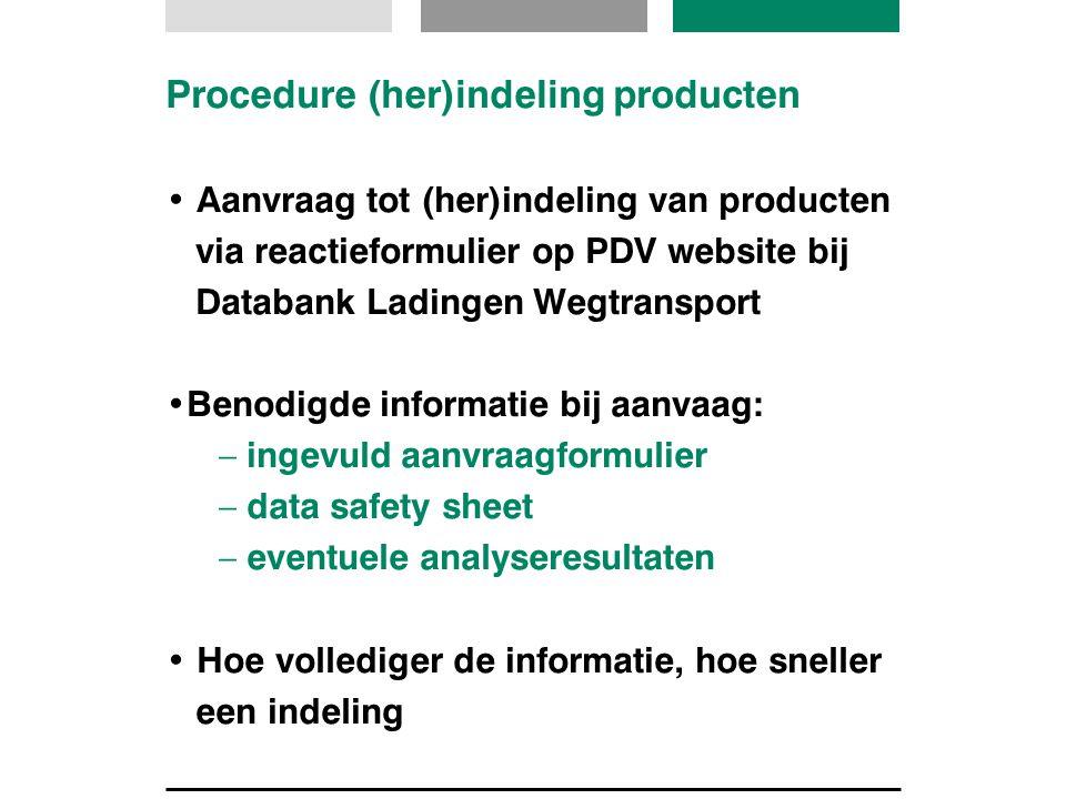 Procedure (her)indeling producten