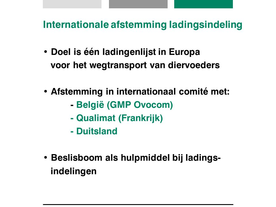 Internationale afstemming ladingsindeling