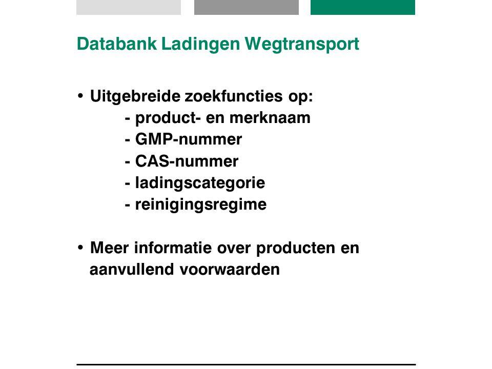 Databank Ladingen Wegtransport