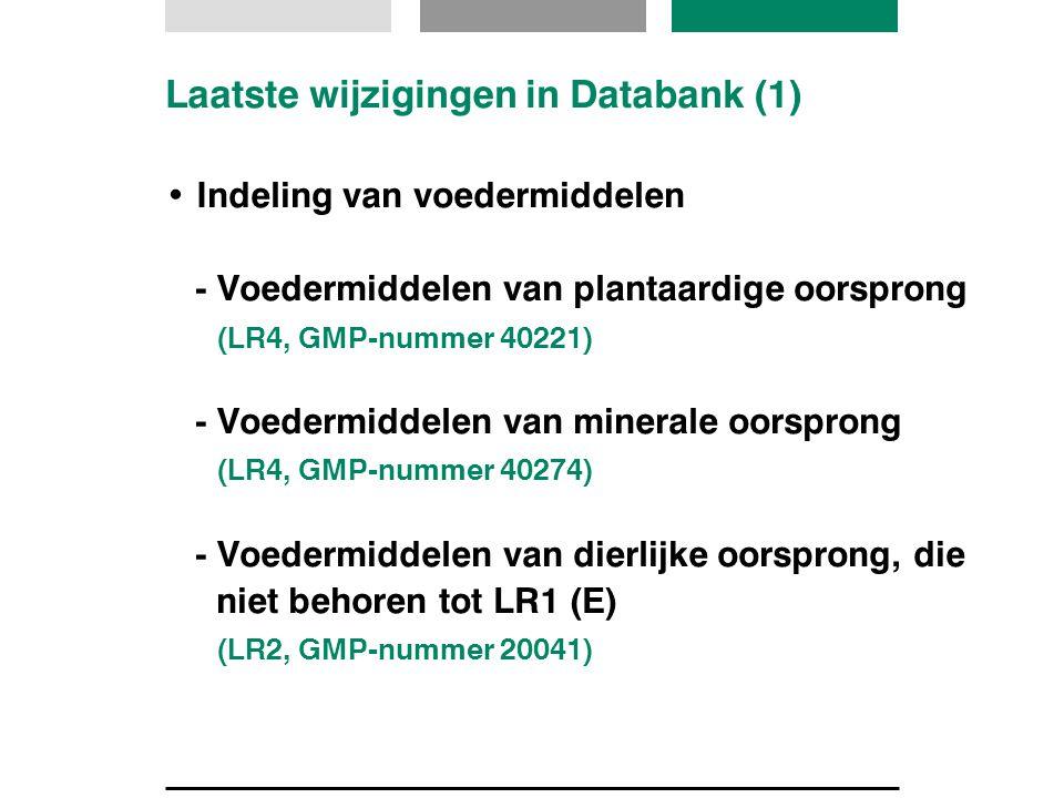 Laatste wijzigingen in Databank (1)