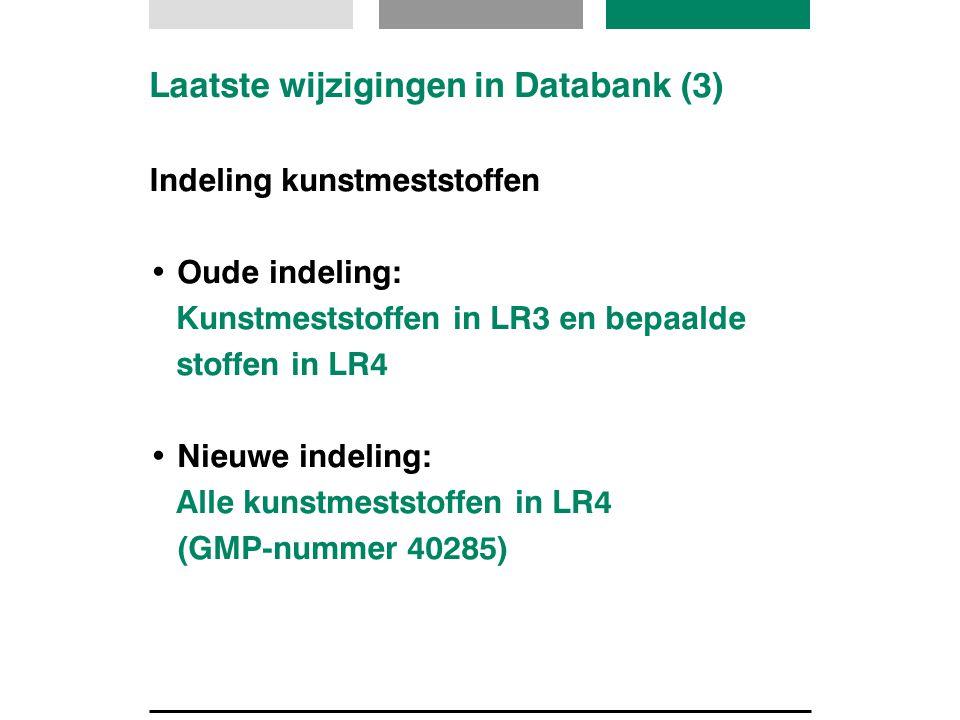 Laatste wijzigingen in Databank (3)