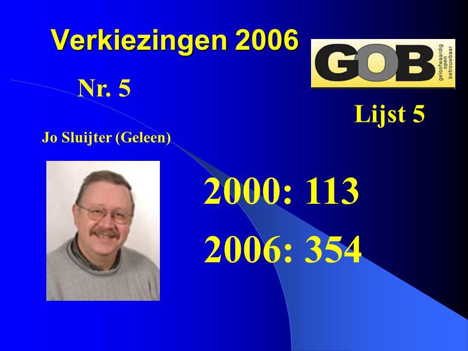 2000: 113 2006: 354 Verkiezingen 2006 Nr. 5 Lijst 5