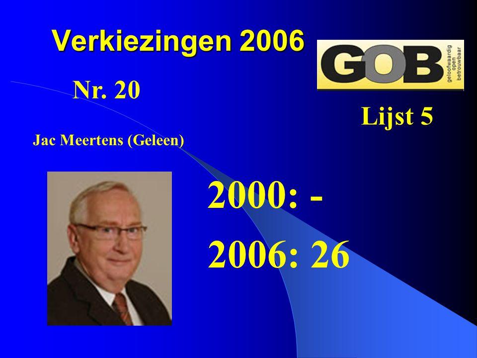 2000: - 2006: 26 Verkiezingen 2006 Nr. 20 Lijst 5