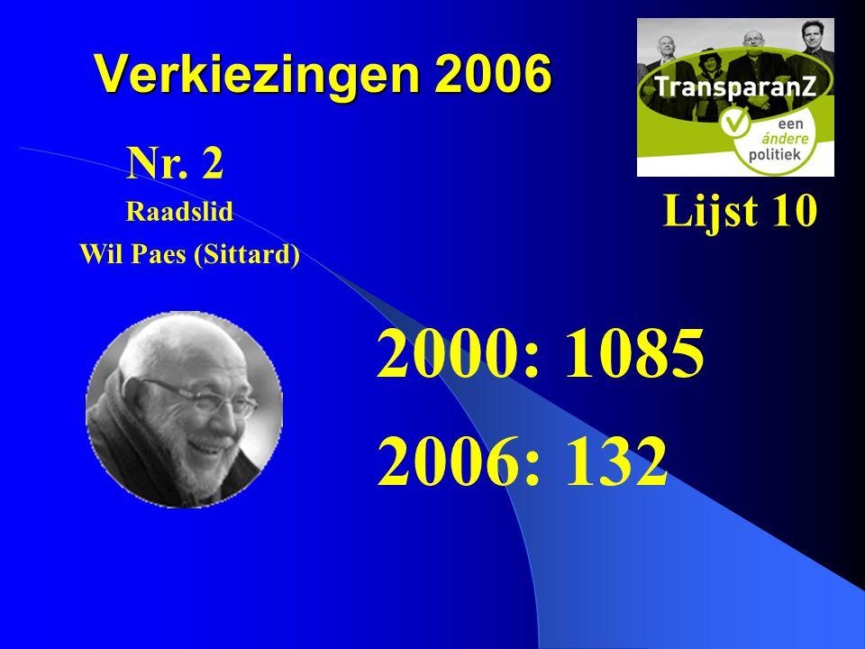 2000: 1085 2006: 132 Verkiezingen 2006 Nr. 2 Lijst 10 Raadslid