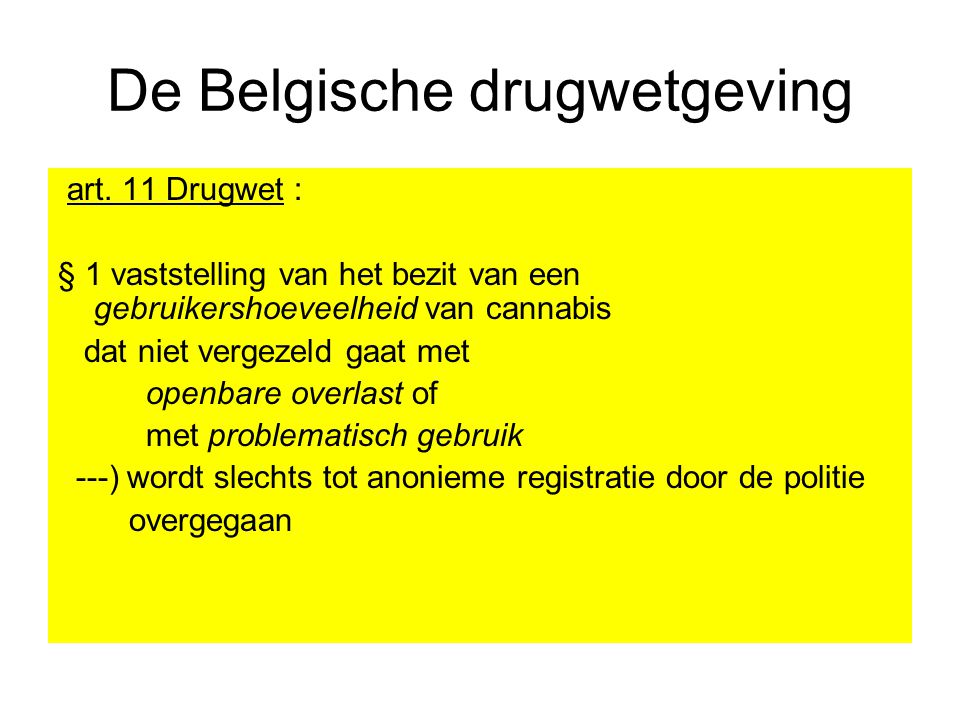 De Belgische drugwetgeving